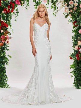 Ericdress Spaghetti Straps Embroidery Appliques Mermaid Wedding Dress