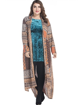 Ericdress Geometric Color Block Plus Size Sweater