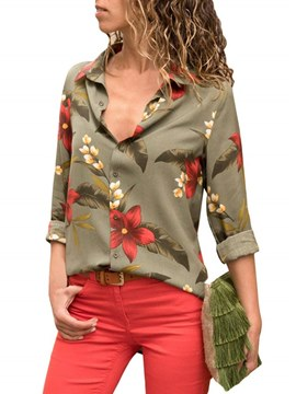 Ericdress Lapel Single-Breasted Print Floral Long Sleeve Blouse