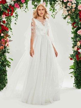 Ericdress Bateau A Line Tulle Wedding Dress
