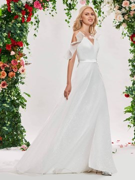 Ericdress Open Shoulder Beach Wedding Dress