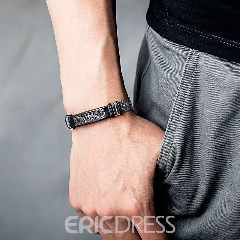 Ericdress Cross Bible Titanium Steel Men's Bracelet