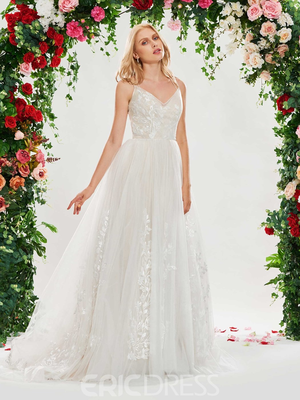 Ericdress Straps A Line Backless Tulle Wedding Dress