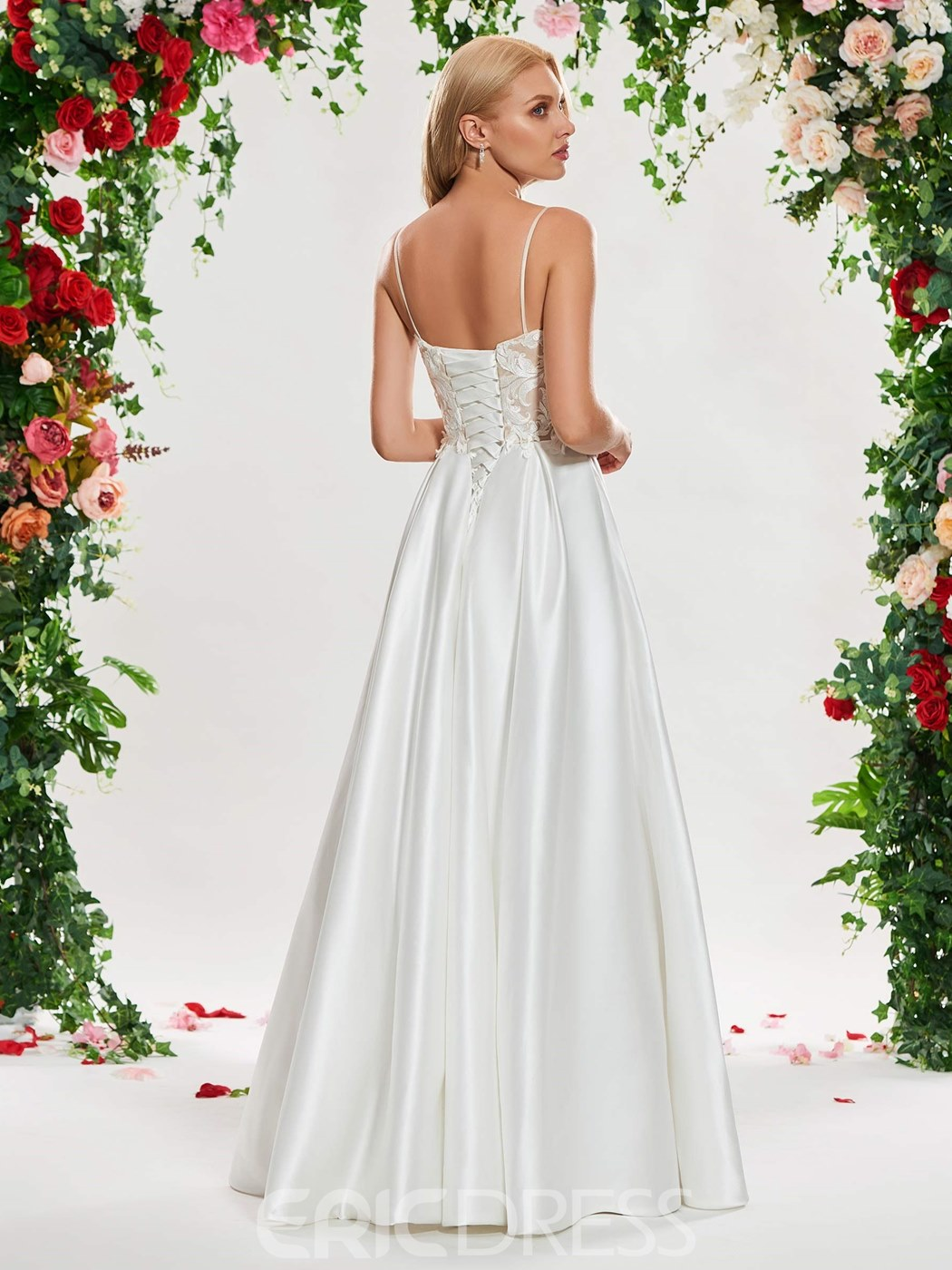 Ericdress A Line Matte Satin Appliques Wedding Dress