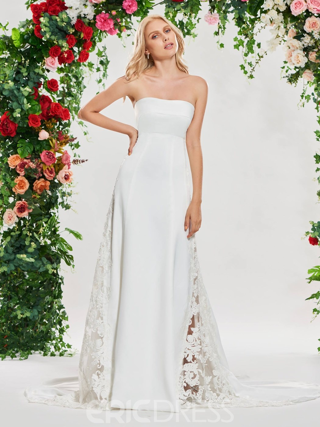 Ericdress Strapless Sheath Hollow Wedding Dress