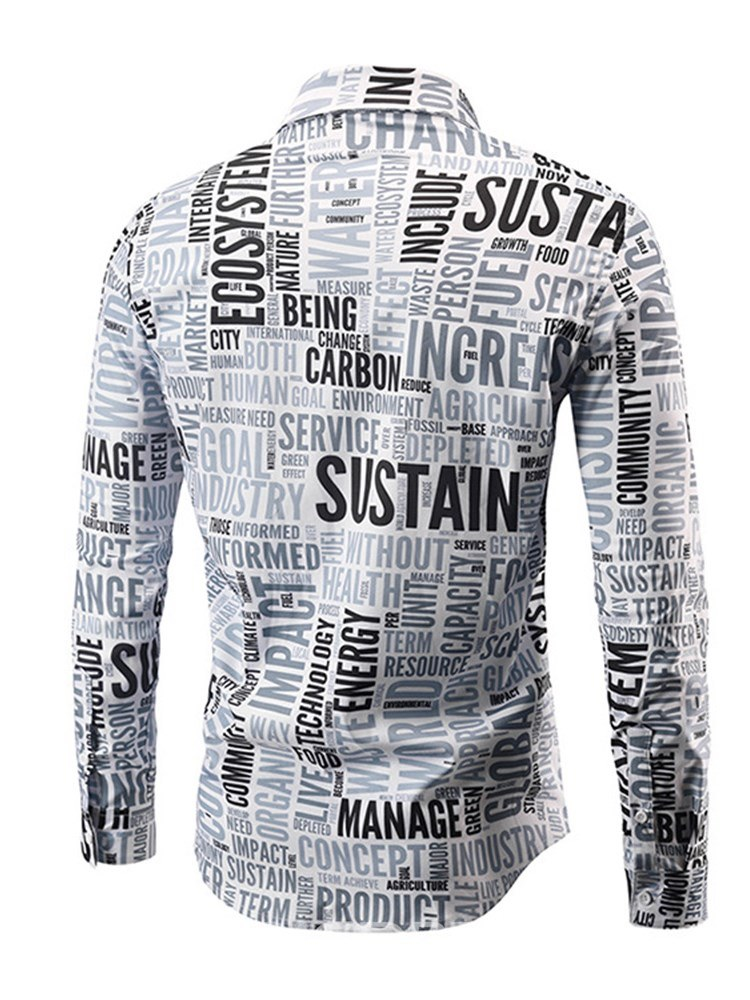 Ericdress Letter Printed Button Up Mens Casual Shirts