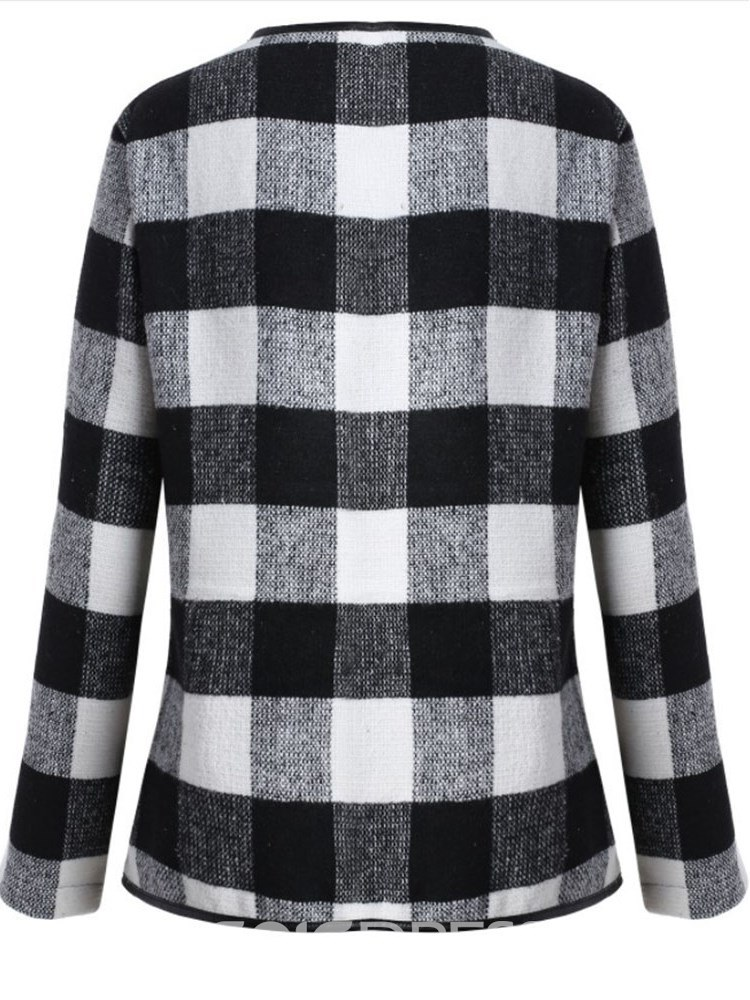Ericdress Gingham Cotton Lapel Long Sleeves Coats
