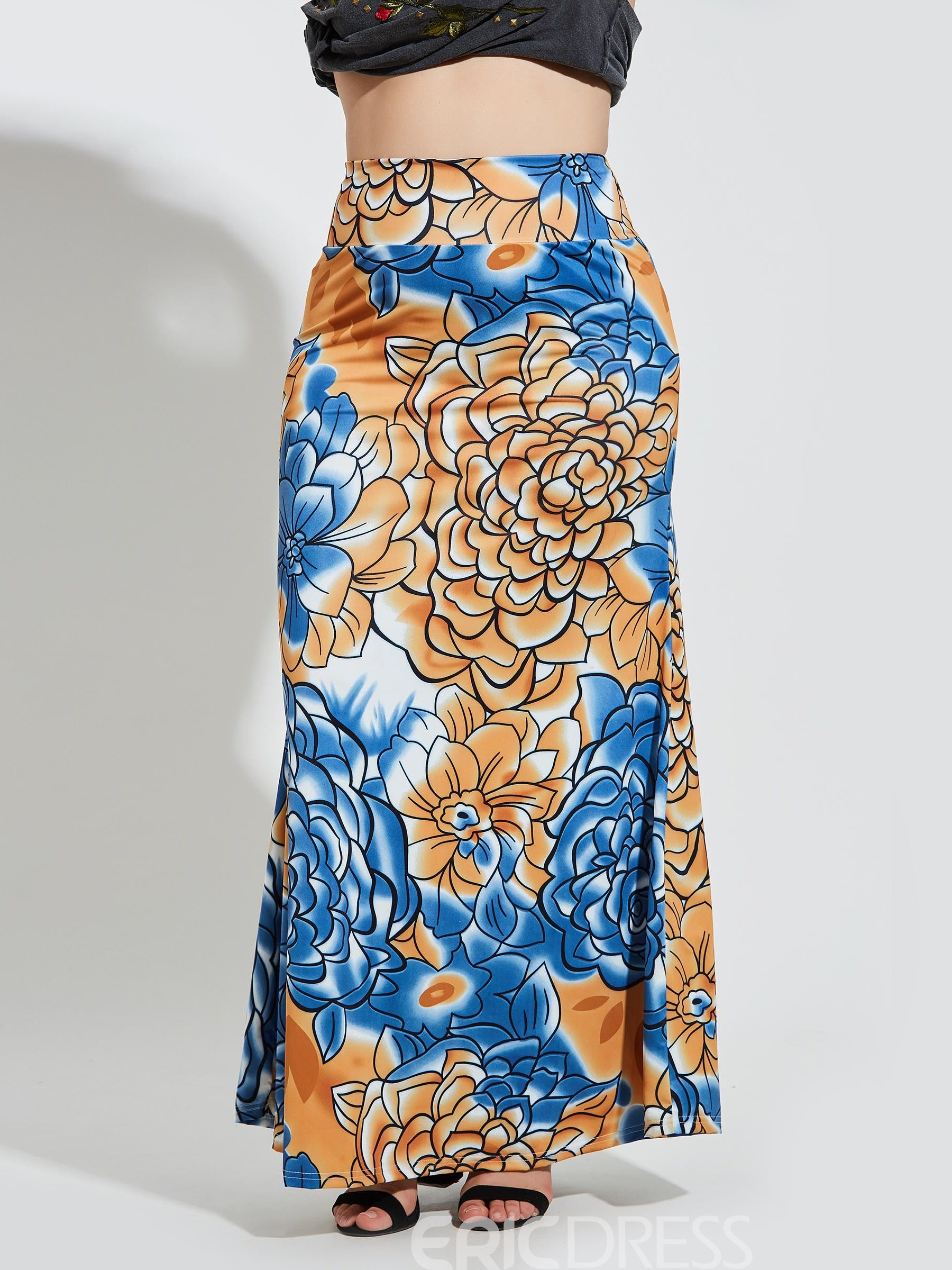 Ericdress Bodycon Floral Print Women's Plusee Skirt