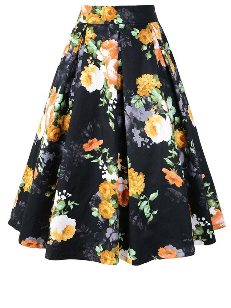 Ericdress Print Pleated Broomstick Women's Skirt