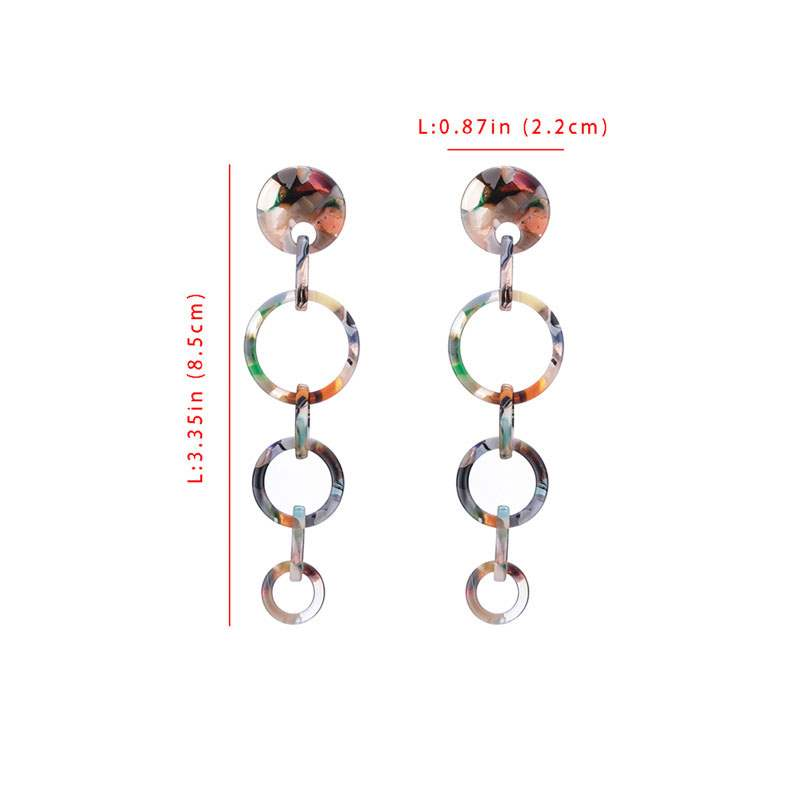 Ericdress Layered Circle Link Drop Earrings