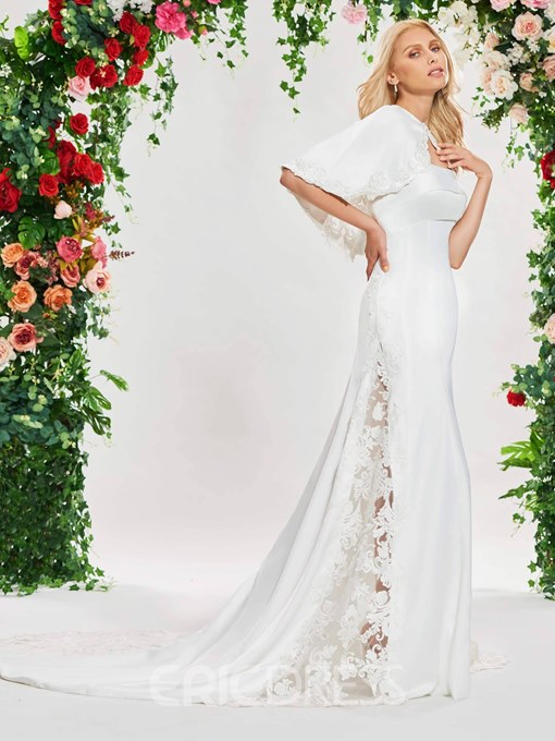 Ericdress Strapless Hollow Appliques Wedding Dress with Cape
