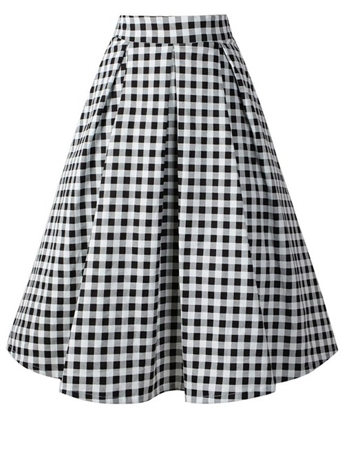Ericdress Plaid Pleated A-Line Women's Skirt