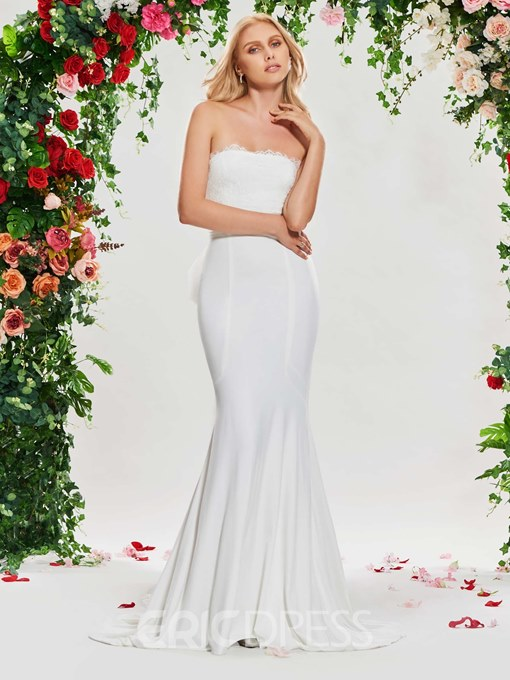 Ericdress Strapless Lace Mermaid Wedding Dress with Train