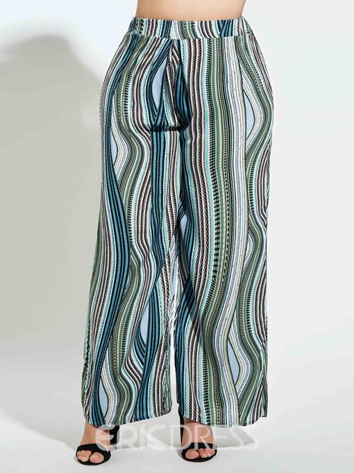 Ericdress Plus Size Loose Color Block Print Wide Legs Casual Pants