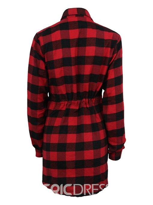 Ericdress Plaid Single-Breasted Women's Dress