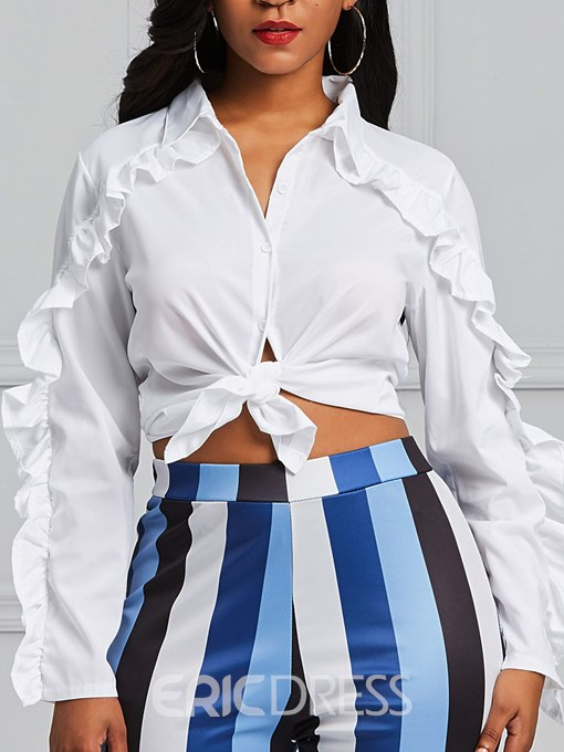 Ericdress Ruffles Patchwork Single-Breasted Long Sleeve Blouse