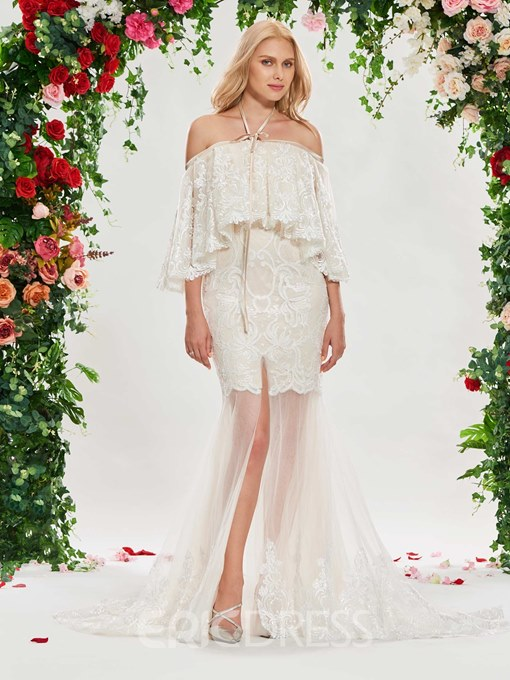 Ericdress Lace Mermaid Off the Shoulder Wedding Dress