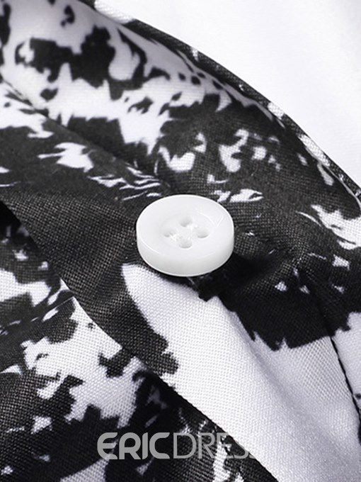 Ericdress Striped Printed Button Up Lapel Mens Casual Shirts