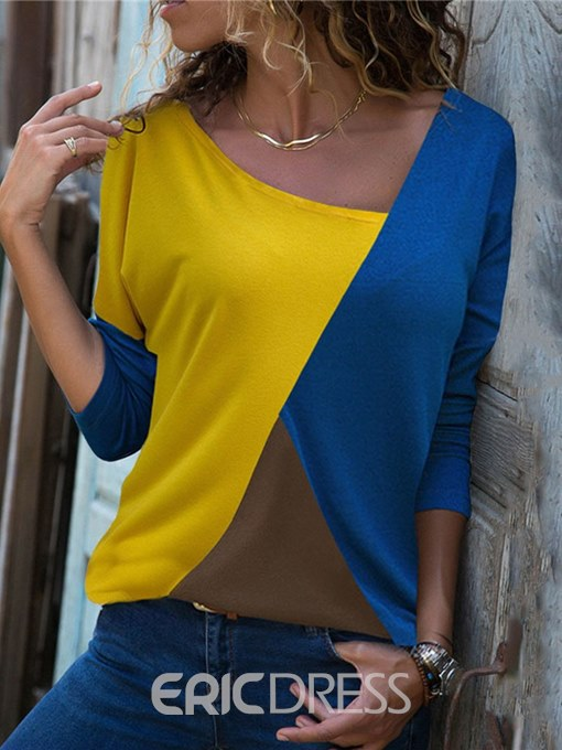 Ericdress Color Block Casual Scoop Long Sleeve T-shirt