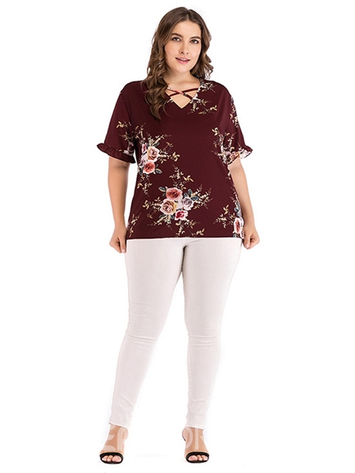 Ericdress Stringy Selvedge Print Plus Size T-Shirt
