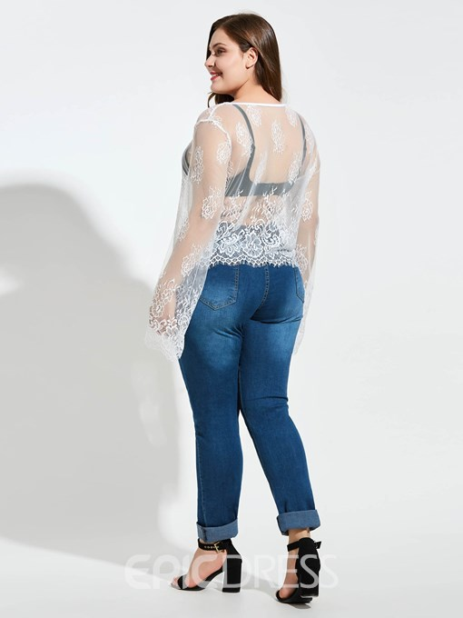 Ericdress Floral Long Sleeve See-Through Plus Size T-Shirt