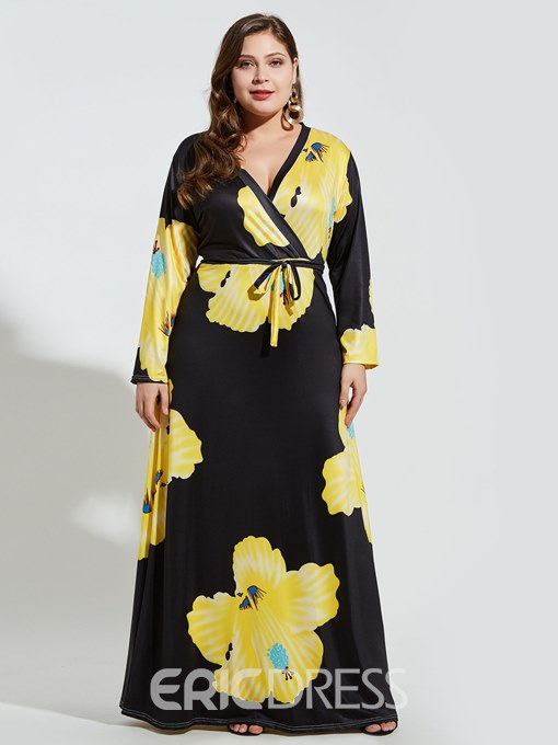 Ericdress Floral V-Neck Polyester Plusee Maxi Dress