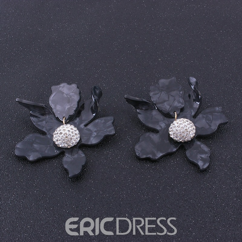 Ericdress Flower Diamante Studs