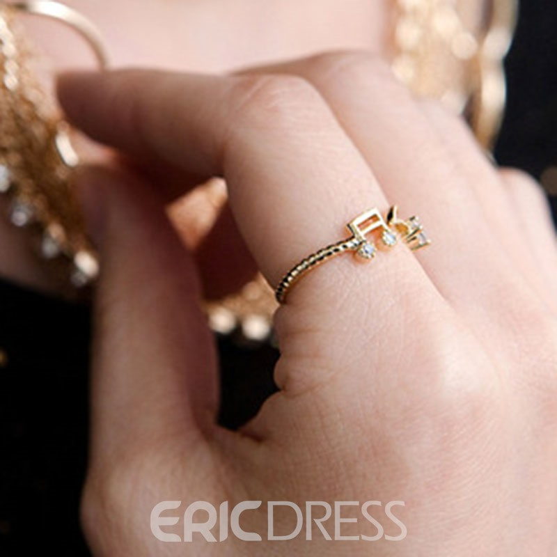 Ericdress Note Diamante Twist Women Ring