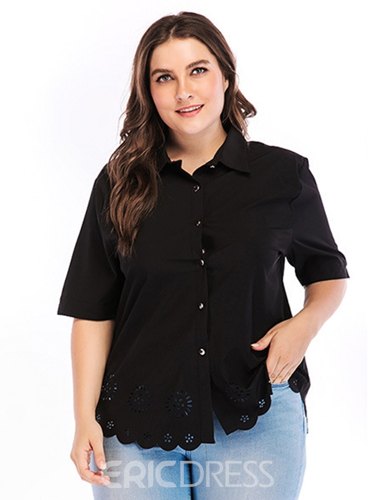 Ericdress Lapel Hollow Button Plus Size Blouse