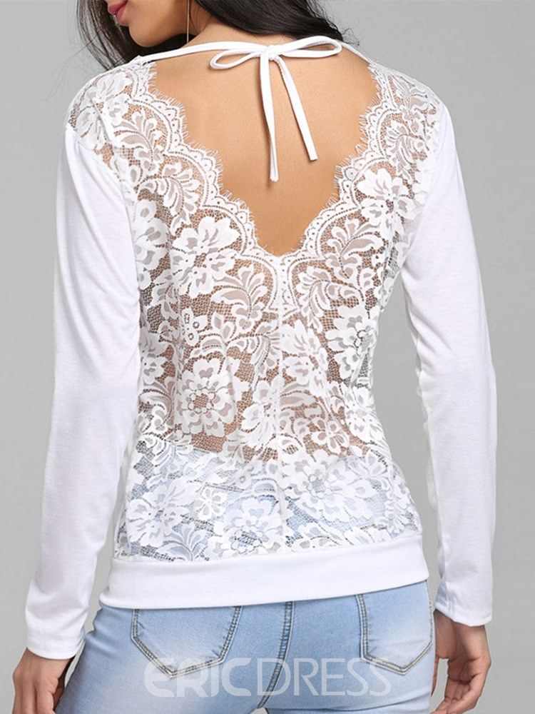 Ericdress Backless Patchwork Lace Sexy T-shirt
