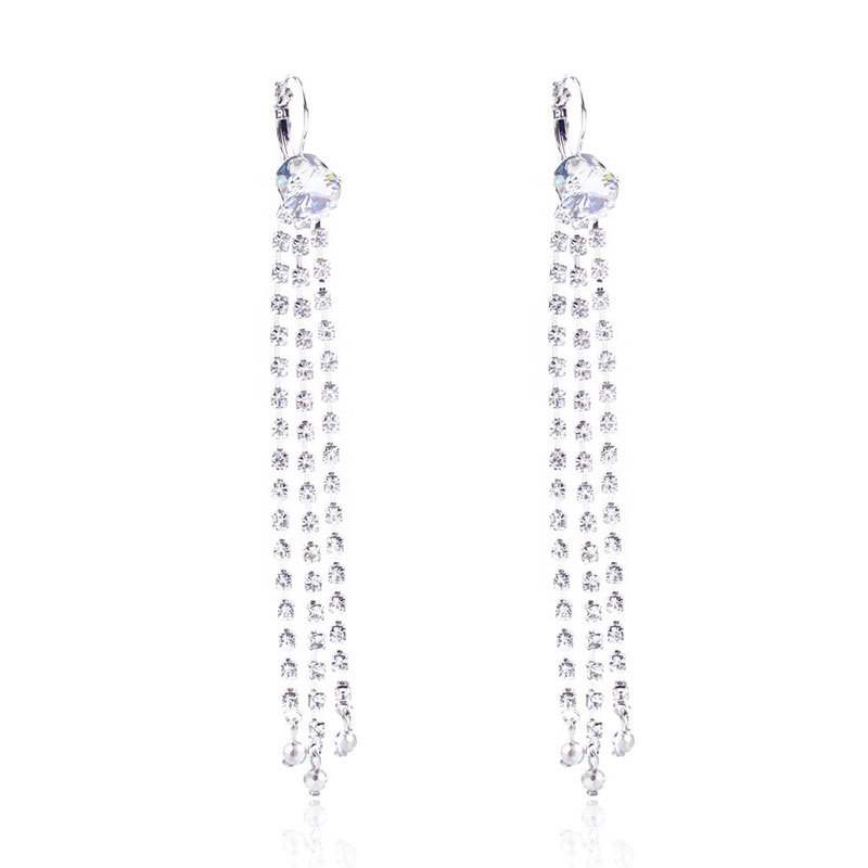 Ericdress Long Diamante Drop Earrings