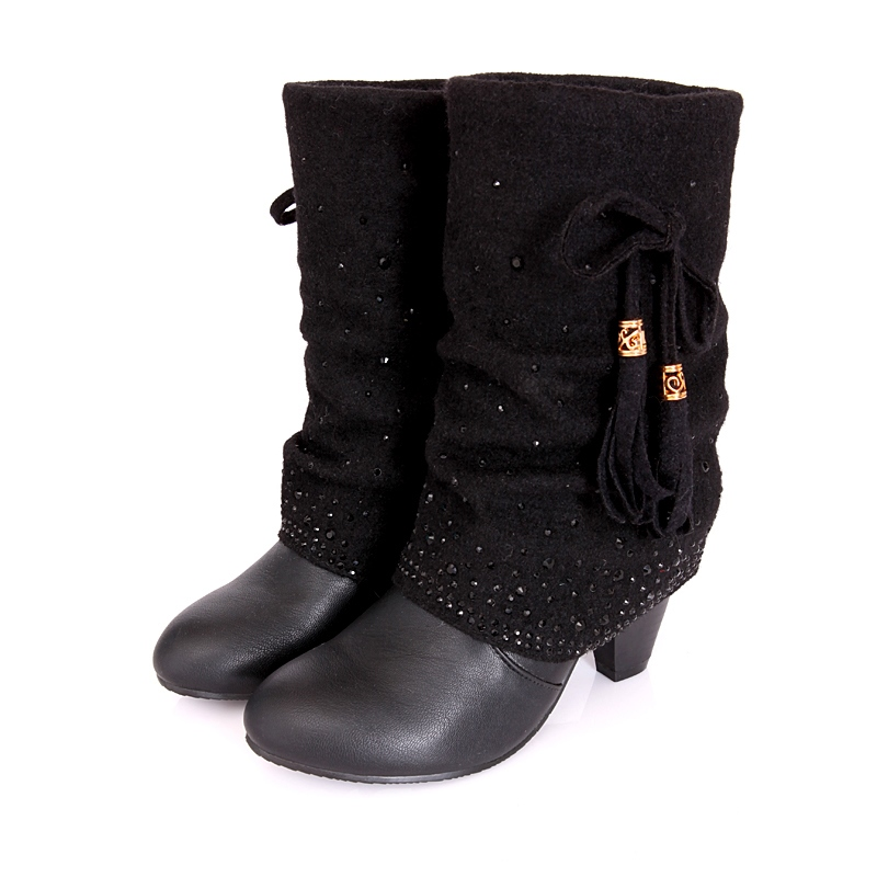 Ericdress Rhinestone Chunky Heel Women's Ankle Boots