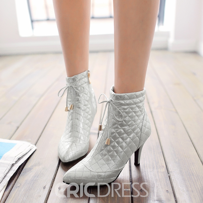 Ericdress Side Zipper Pointed Toe Stiletto Heel Ankle Boots