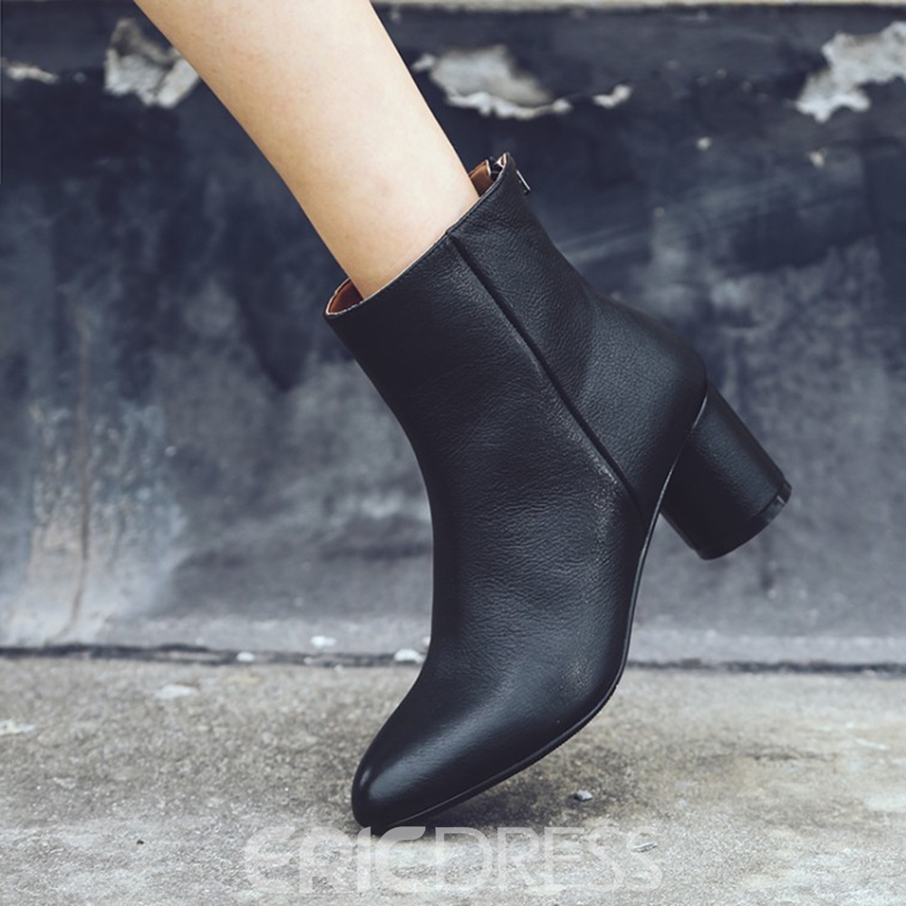 Ericdress Back Zip Chunky Heel Women's Ankle Boots
