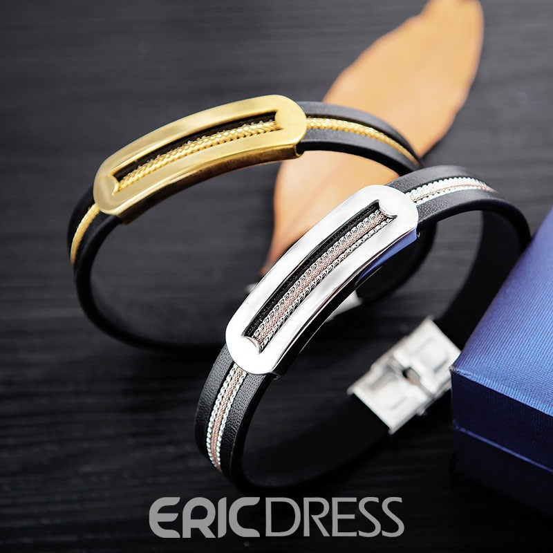 Ericdress Titanium Steel Leather Alloy Men's Bracelet