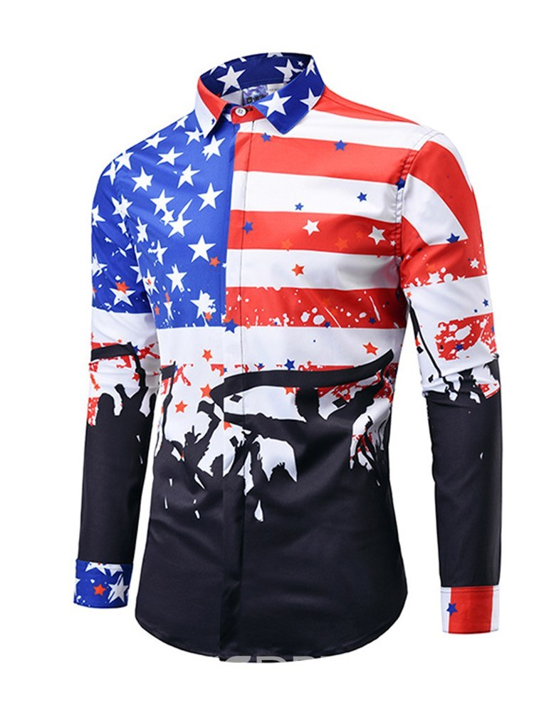 270ea2fca0 Ericdress American Flag Printed Mens Color Block Shirts 13370771 ...