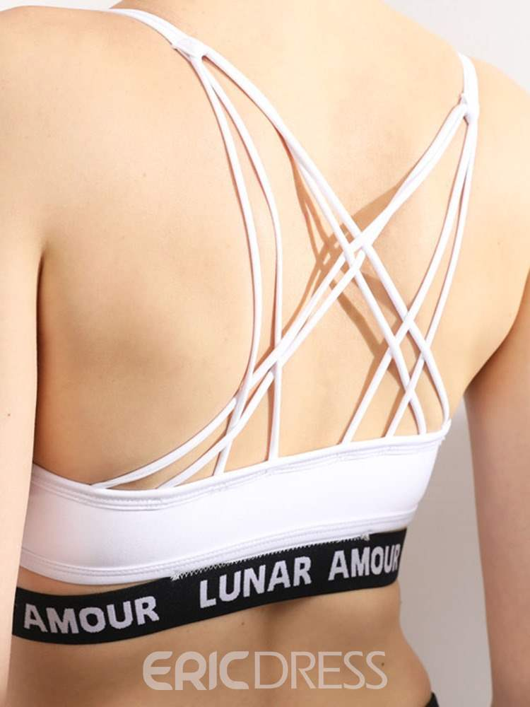 Ericdress Letter Shockproof Non-Adjusted Straps Free Wire Sports Bras