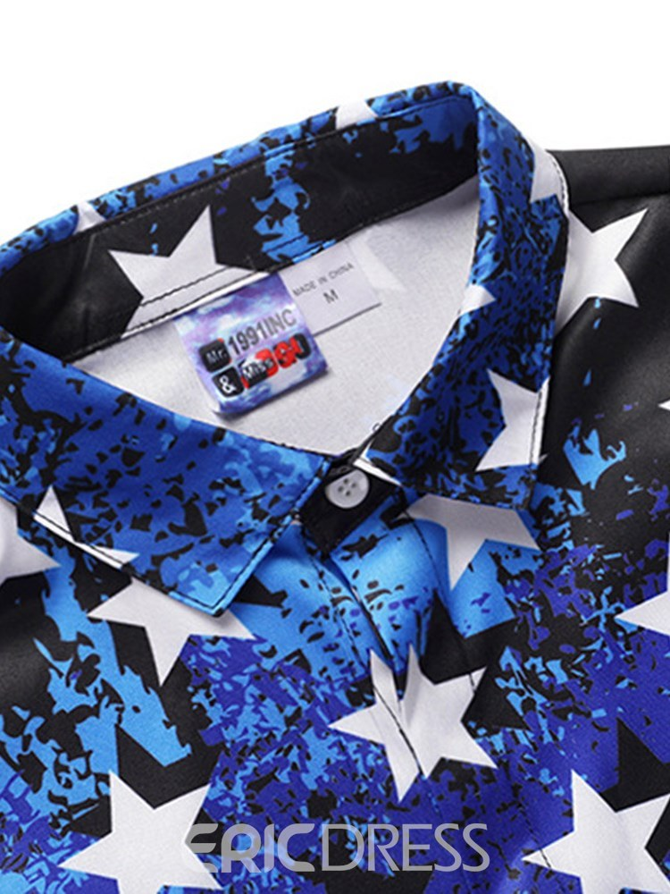 Ericdress Striped Color Block Printed Button Up Mens Casual Shirts