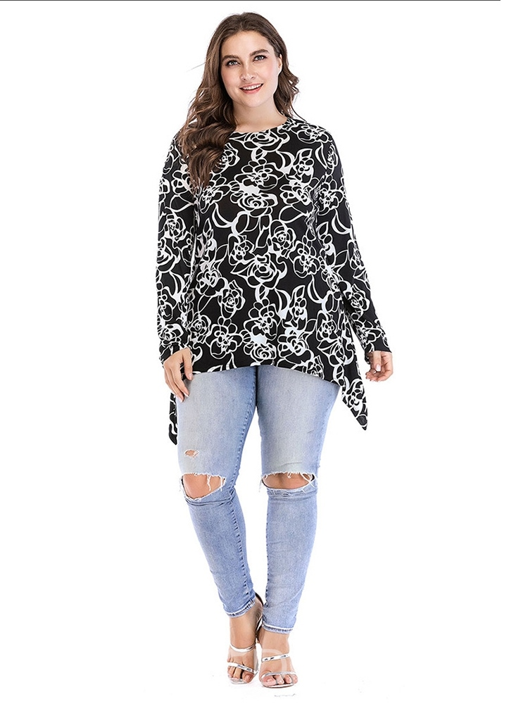 Ericdress Asymmetric Floral Plus Size Loose T-Shirt