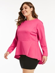 Ericdress Slim Asymmetric Ruffles Plus-Size Blouse - $18.67
