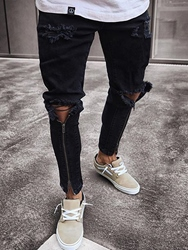 Ericdress Black Zip Designed Skinny Mens Ripped Jeans фото