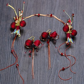 Ericdress Red Pearl Wedding Hair Band