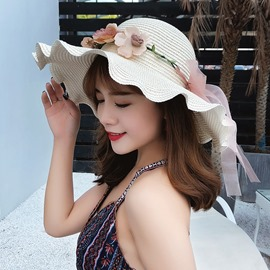 Ericdress Wave Brim Flower Summer Hat