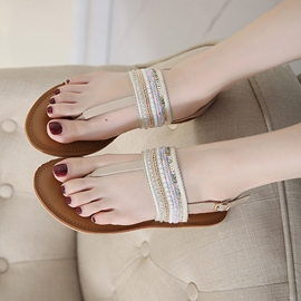 Ericdress Patchwork Strappy Thong Flat Sandals