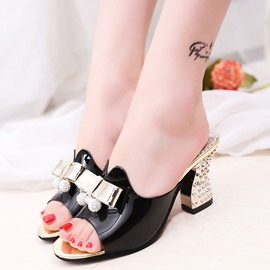 Ericdress Bowknot Rhinestone Slip-On Chunky Heel Mules Shoes