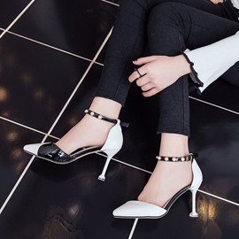 Ericdress Beads Color Block Pointed Toe Spool Heel Pumps