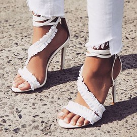 Ericdress Lace-Up Heel Covering Open Toe Stiletto Sandals