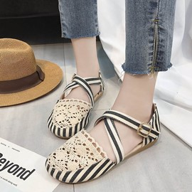 Ericdress Stripe Patchwork Round Toe Flat Sandals