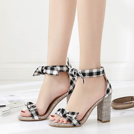 Ericdress Bowknot Gingham Lace-Up Chunky Sandals