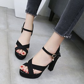 Ericdress Buckle Peep Toe Platform Chunky Sandals